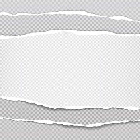 Pieces of stacked torn, white and grey realistic horizontal paper strips with soft shadow are on squared background. Vector illustration.