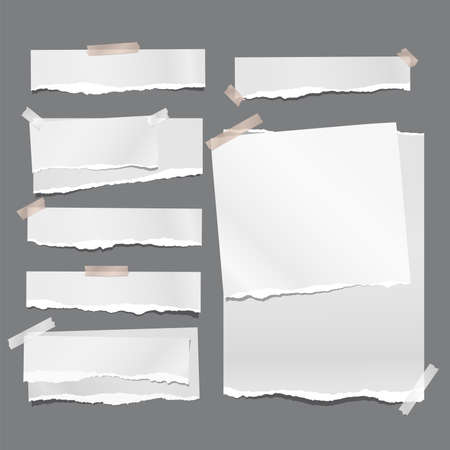 Set of torn white note, notebook paper strips and pieces stuck with sticky tape on dark grey background. Vector illustration.
