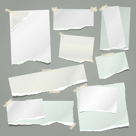 Set of torn white and green note, notebook paper strips and pieces stuck with sticky tape on grey background. Vector illustration. Ilustração