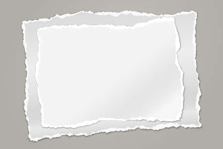 Stack of torn white note, notebook paper pieces for text stuck on grey background. Vector illustration Ilustração
