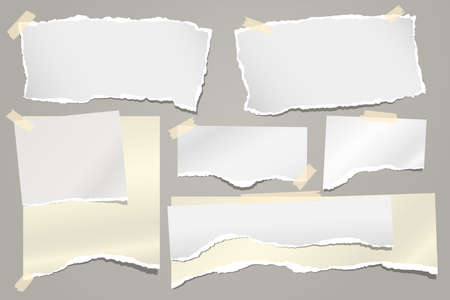 Set of torn white and yellow note, notebook paper strips and pieces stuck with sticky tape on grey background. Vector illustration