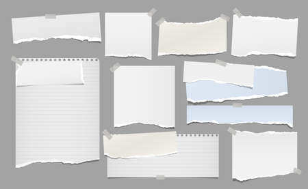 Set of torn white note, notebook paper strips and pieces stuck with sticky tape on grey background. Vector illustration