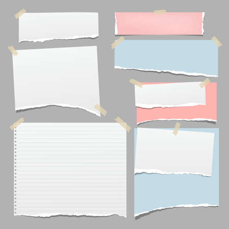Set of torn white and colorful note, notebook paper pieces stuck with sticky tape on grey background. Vector illustration.