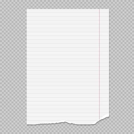 Torn white note, notebook paper sheet stuck on squared grey background. Vector illustration.