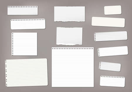 Set of torn white lined note, notebook paper strips and pieces stuck on dark brown background. Vector illustration Ilustração