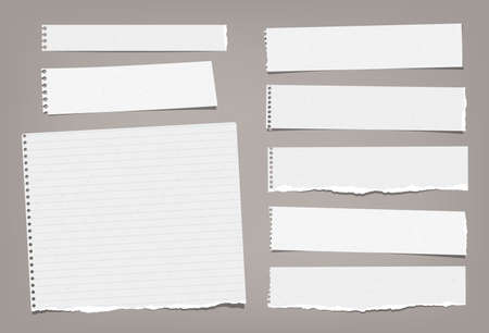 Torn white blank and lined note, notebook paper strips, pieces and sheeds stuck on brown background. Vector illustration.