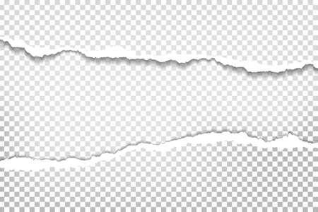 Stücke von zerrissenen horizontalen weißen Papierstücken mit weichem Schatten befinden sich auf quadratischem Hintergrund für Text. Vektor-Illustration.