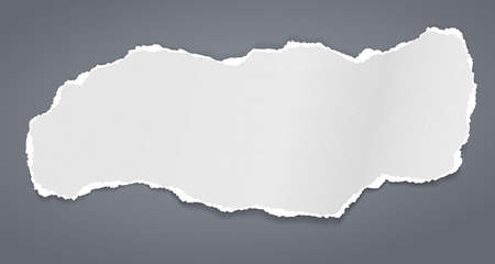 Torn white grainy note, notebook paper strip, piece stuck on brown background. Vector illustration