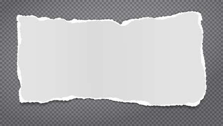 Torn white note, notebook paper strip, piece stuck on dark squared background. Vector illustration