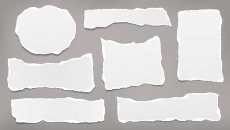 Torn white blank and grainy note, notebook paper strips, pieces stuck on grey background. Vector illustration.
