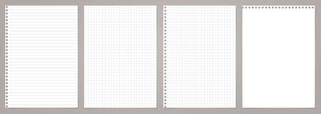 White lined and squared note, notebook paper stuck on grey backgroud. Vector illustration