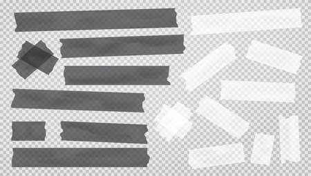 White nad black different size adhesive, sticky, masking, duct tape, paper pieces are on squared gray background.