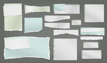 Conjunto de nota rasgada blanca y colorida, tiras de papel de cuaderno y piezas pegadas sobre fondo gris oscuro. Ilustración de vector.