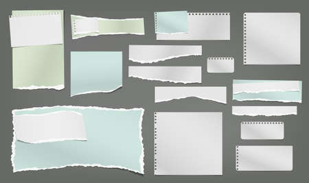 Set of torn white and colorful note, notebook paper strips and pieces stuck on dark grey background. Vector illustration. Illustration