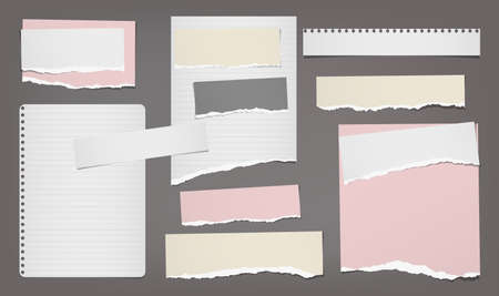 Torn white and colorful note, notebook paper strips and pieces stuck on dark grey background. Vector illustration.