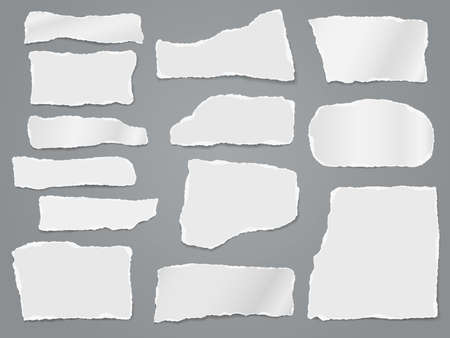 Torn white note, notebook paper strips, pieces stuck on dark grey background. Vector illustration.