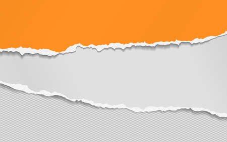 Torn, ripped pieces of horizontal orange and white paper with soft shadow are on grey squared background for text. Vector illustration