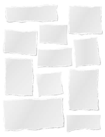 Torn of white note, notebook paper strips, pieces stuck on white background. Vector illustration Illustration