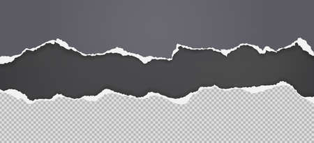 Pieces of torn grey and squared paper with soft shadow stuck on black background. Vector illustration