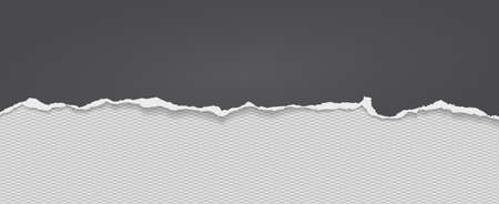 Piece of torn black horizontal paper with soft shadow stuck on white squared background. Vector illustration