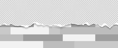 Piece of torn white squared horizontal paper with soft shadow stuck on grey oblong geometric background. Vector illustration. Illustration