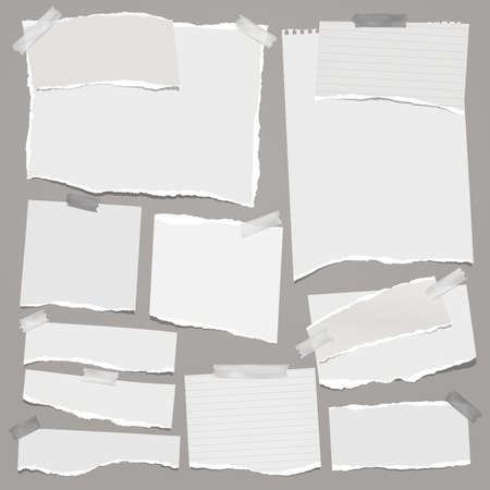 Torn of white note, notebook paper strips, pieces stuck on grey background. Vector illustration