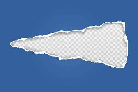 Torn of blue and horizontal paper hole with soft shadow, frame for text are on white squared background. Vector illustration.