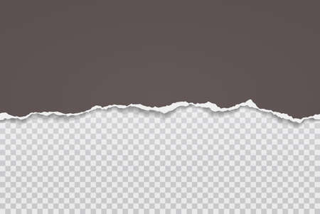 Torn, ripped piece of horizontal brown paper with soft shadow are on squared grey background for text. Vector illustration