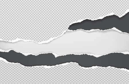Pieces of torn black and white squared paper with soft shadow stuck on white background. Vector illustration Illustration