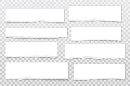 Torn of white note, notebook paper strips, pieces stuck with sticky tape on grey background. Vector illustration