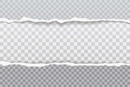 Pieces of torn grey paper with soft shadow stuck on white squared background. Vector illustration