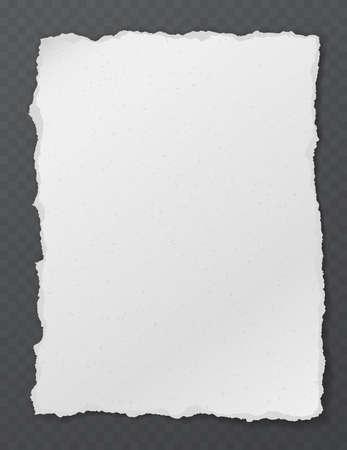 Zerrissene weiße vertikale Note, Notizbuchpapierstück, das auf schwarzem quadratischem Hintergrund geklebt ist. Vektor-Illustration