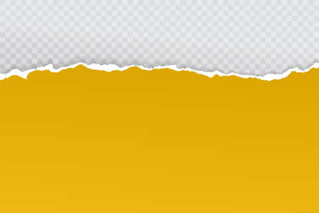 Piece of torn bright yellow horizontal paper with soft shadow stuck on white squared background. Vector illustration