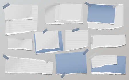 Torn of white and blue note, notebook paper strips, pieces stuck on grey background. Vector illustration