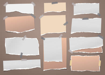 Torn white and brown note, notebook paper strips and pieces stuck with sticky tape on dark brown background. Vector illustration Illustration