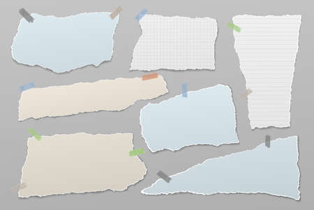 Torn white and blue note, notebook paper strips and pieces stuck on grey background. Vector illustration