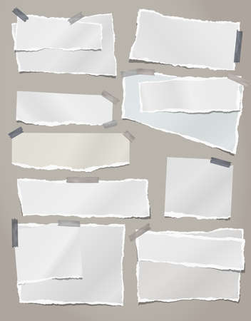 Torn white note, notebook paper strips and pieces stuck on grey background. Vector illustration