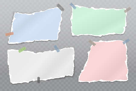 Torn white and colorful note, notebook paper strips and pieces stuck on squared background. Vector illustration