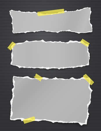 Torn of vertical grey note, notebook paper strips and pieces stuck with yellow sticky tape on black background. Vector illustration.