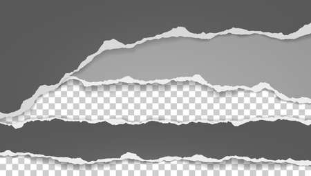 Torn, ripped pieces of horizontal dark grey and white paper with soft shadow are on squared background for text. Vector illustration.