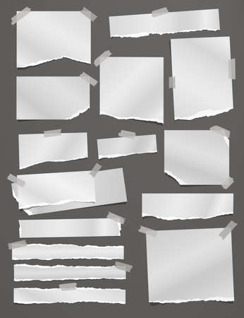 Torn white note, notebook paper strips and pieces stuck on dark grey background. Vector illustration