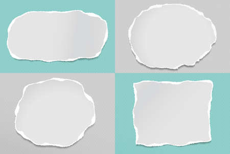 Set of torn white note, notebook paper strips and pieces stuck on grey, turquoise backgrounds. Vector illustration