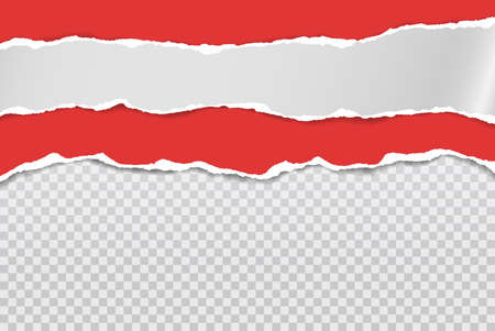 Pieces of torn, ripped red and white paper with soft shadow are on squared background for text. Vector illustration