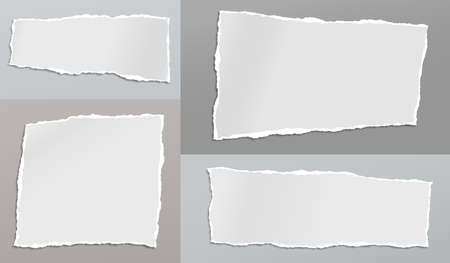 Set of torn white note, notebook paper strips and pieces stuck on backgrounds of different colors. Vector illustration