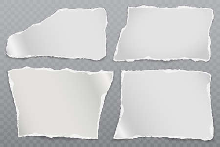 Torn of white note, notebook paper strips and pieces stuck on squared background. Vector illustration Illustration