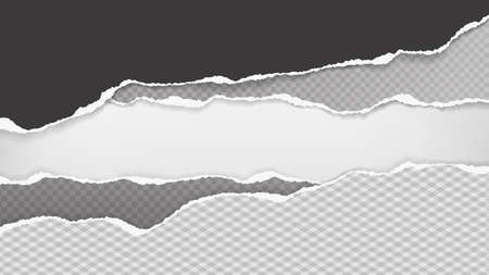 Pieces of torn, ripped black and grey paper with soft shadow are on white background for text. Vector illustration 向量圖像