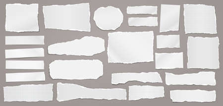 Torn of white note, notebook paper strips and pieces stuck on dark grey background. Vector illustration
