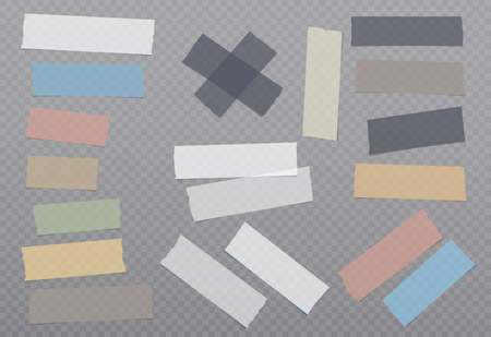 White and colorful different size adhesive, sticky, masking, duct tape, paper pieces are on dark squared background