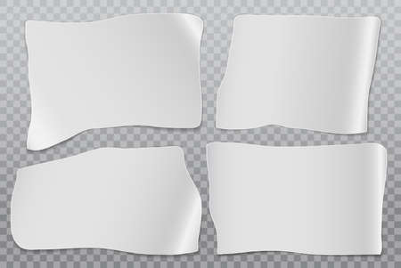 Set of cut out white note, notebook paper stuck on squared background. Vector illustration. Illustration