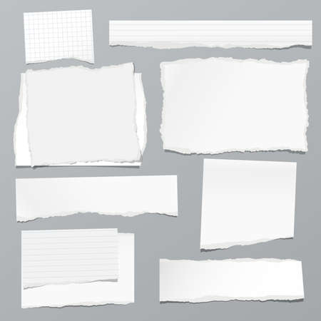 Torn of white note, notebook paper strips and pieces stuck on grey background. Vector illustration Vettoriali